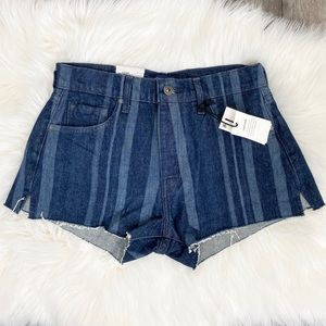 Levi's High Waist Laser Stripe Jean Shorts